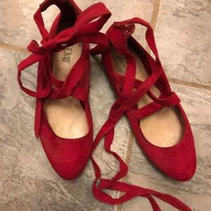 Red suede look lace up Brash ballet flats.
